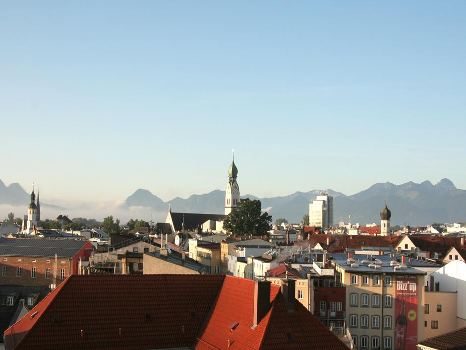The city of Rosenheim with view of the Alps